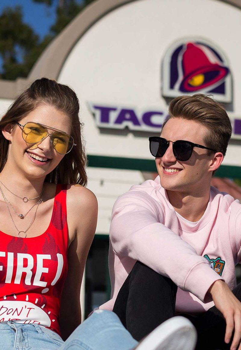Taco Bell collaborated with fashion brand Forever 21 on chain-themed clothing. / Taco Bell
