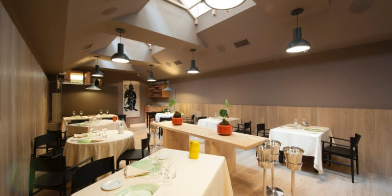 The dining room at Joia in Milan, which has served elevated vegetarian fare for three decades. / Joia
