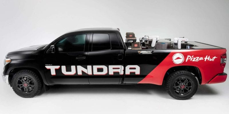 A promotional image of Pizza Hut and Toyota's proposed pizza-making Tundra. / Pizza Hut