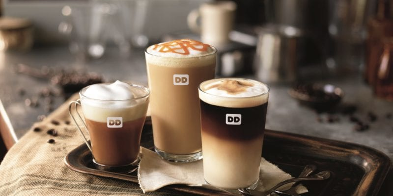 A lineup of Dunkin's new espresso-based drinks. / Dunkin'
